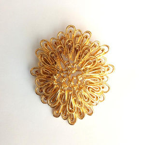Gold-plated Filigree Brooch Flower Swirls Pin